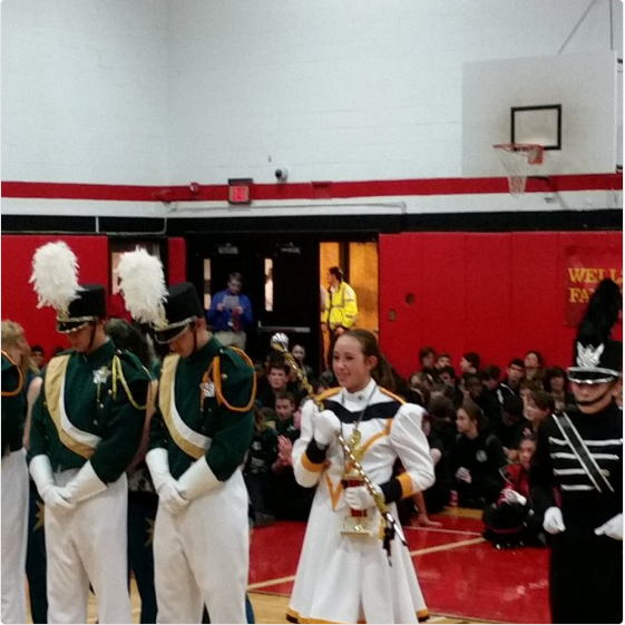 Julianna Scofield accepting Cresskill's 2nd Place Award at the Bergenfield Band Competition