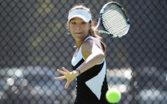 Freshman Stephanie Kim leads the Girls' Varsity Tennis Team in annual BCWCA tennis tournament