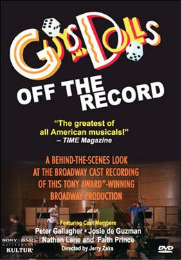 More details DVD cover of the 1992 cast-album recording documentary, Guys and Dolls: Off the Record, starring Peter Gallagher, Josie de Guzman, Nathan Lane, and Faith Prince