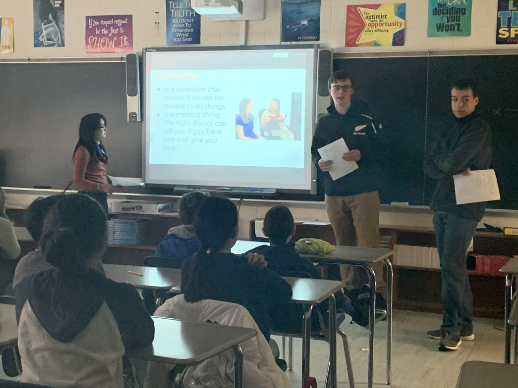 From left to right: Asaka Park, Walter Kruger, and Caio Simonetta present to Cresskill's  sixth-grade advisory group (photo c/o Mrs. Cavins' Twitter page)