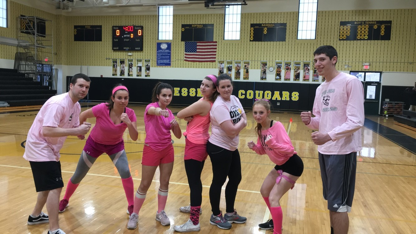 From left to right: Mr. Boita, seniors Sophie Green, Sophia Cumella, Audrey Rael, Mrs. Cardenas, and seniors Isabella Moss and Sam Gellman