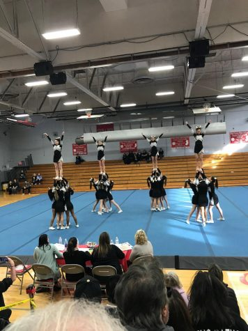 CHS Cheer Team at the final competition of the season in Fair Lawn.
