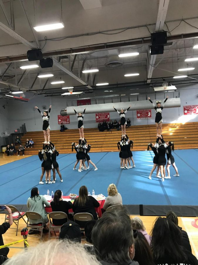 CHS+Cheer+Team+at+the+final+competition+of+the+season+in+Fair+Lawn.