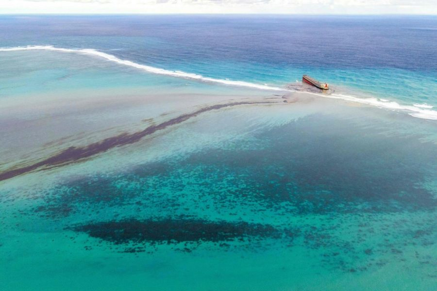 Oil leaking from a wreck near the Blue Bay Marine Park, off the coast of Mauritius, last year.                       Credit… Agence France-Presse - Getty Images.