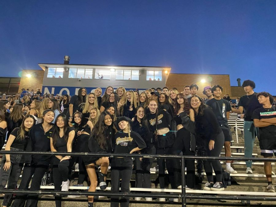 Black Out: Students at the Football teams first home game of the season.